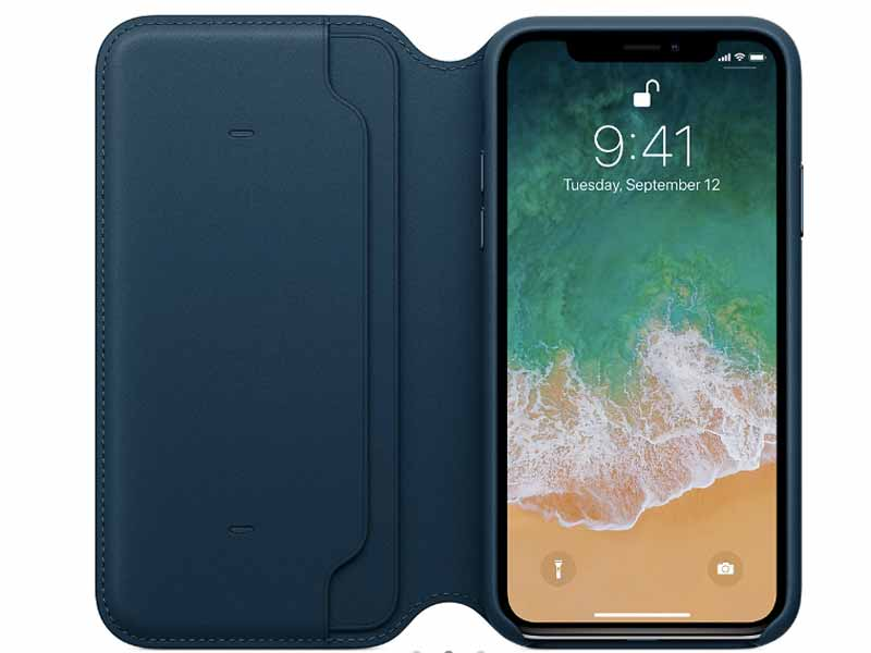 Leather folio case for iPhone X at Apple Store in Bahrain