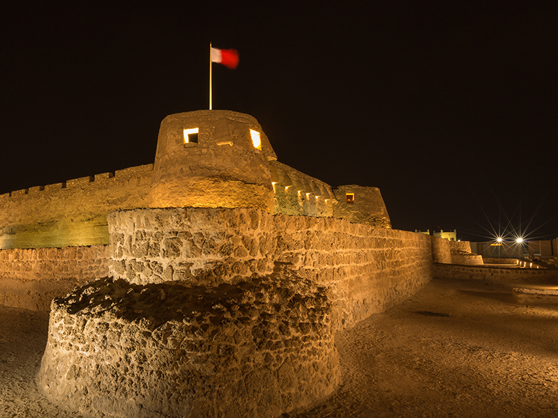 A night view of the Bahrain Fort