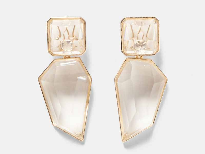 Clear stone earrings by Zara Bahrain