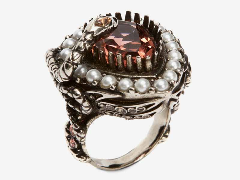 Alexander McQueen's Metal and jewel ring