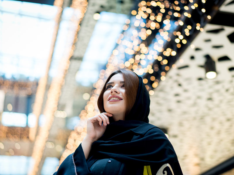 Middle Eastern young woman in a shopping mall
