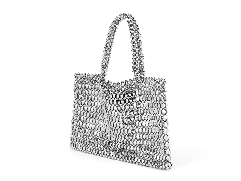 Metallic beaded tote bag by Zara available at City Centre Bahrain