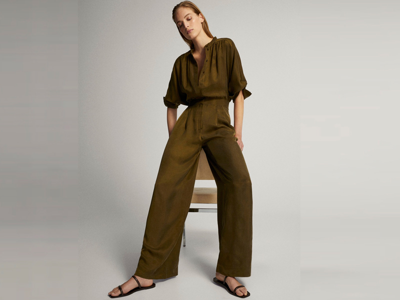 Green button-up jumpsuit by Massimo Dutti, available at City Centre Bahrain