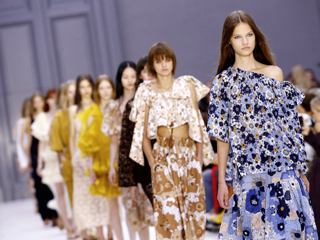 Floral fashion at the Chloe show as part of the Paris Fashion Week Womenswear Spring/Summer 2017