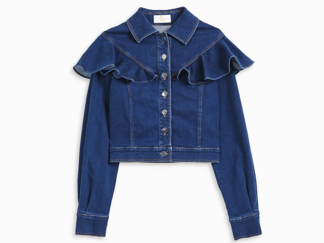 Ruffle denim jacket by Sara Battaglia at boutique 1, Mall of the Emirates