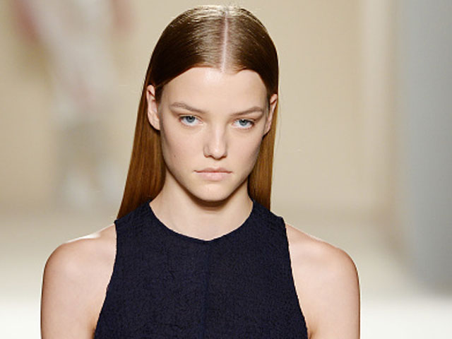 Shiny straight hair at Victoria Beckham's Runway Show in New York City